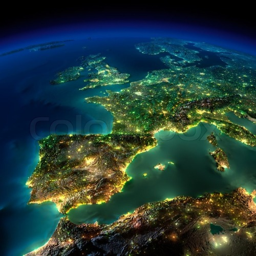 6412186-night-earth-a-piece-of-europe-spain-portugal-france
